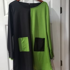 Vintage Colorblock Dress with front pockets